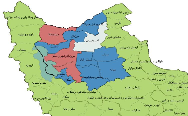 این نقشه از نسخه جدید نبضنامه، وضعیت حوزههای انتخابیه استان آذربایجان شرقی را نمایش میدهد.
