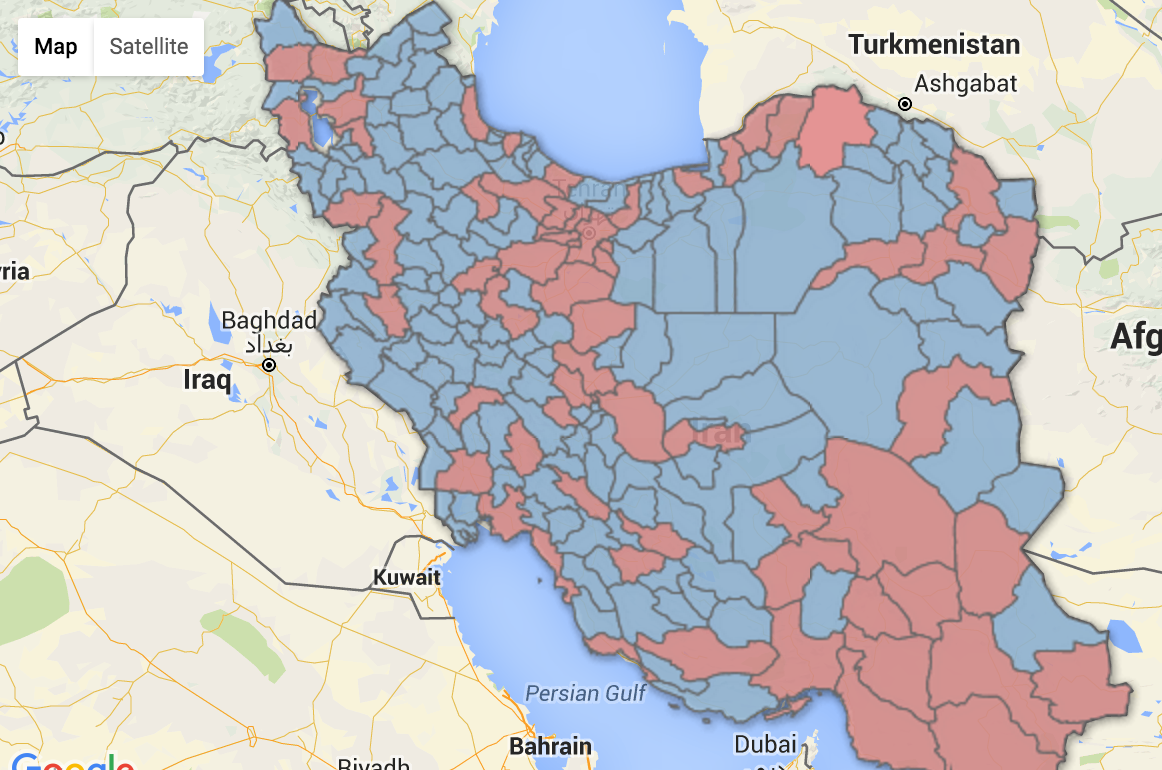 Electoral Districts with Unacceptably Few Majles Seats