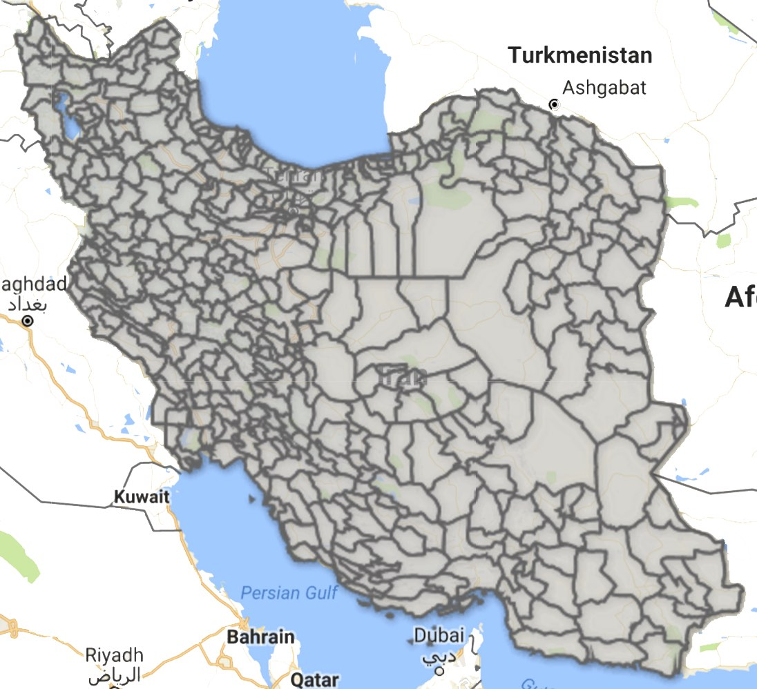 Map of Iran's Counties