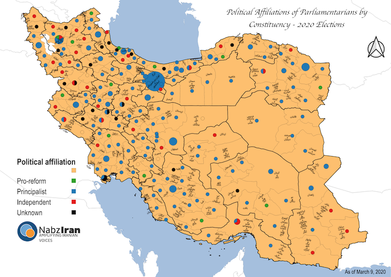 Map of participation rates in Iran provinces during the 2020 parliamentary elections