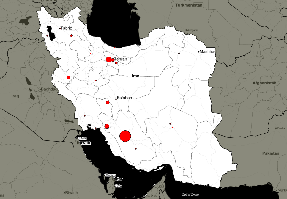 Map of public executions in Iran