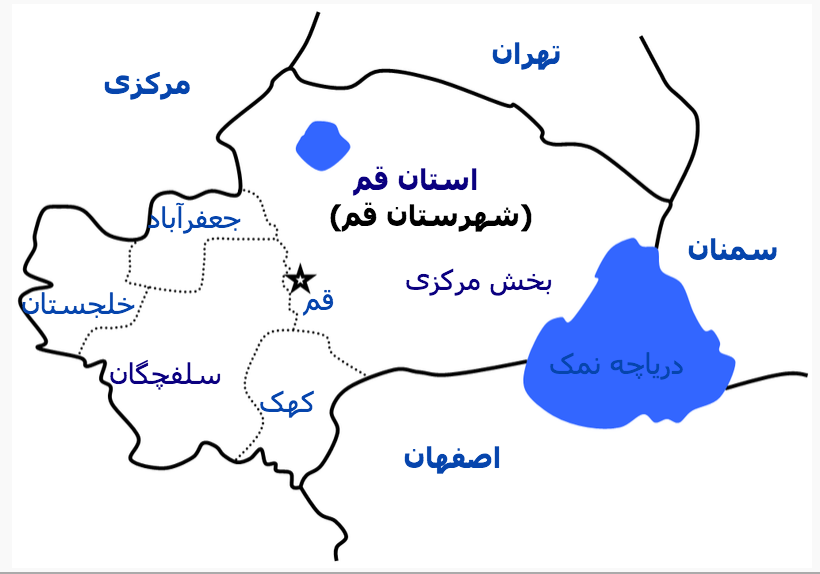 Map of Qom County