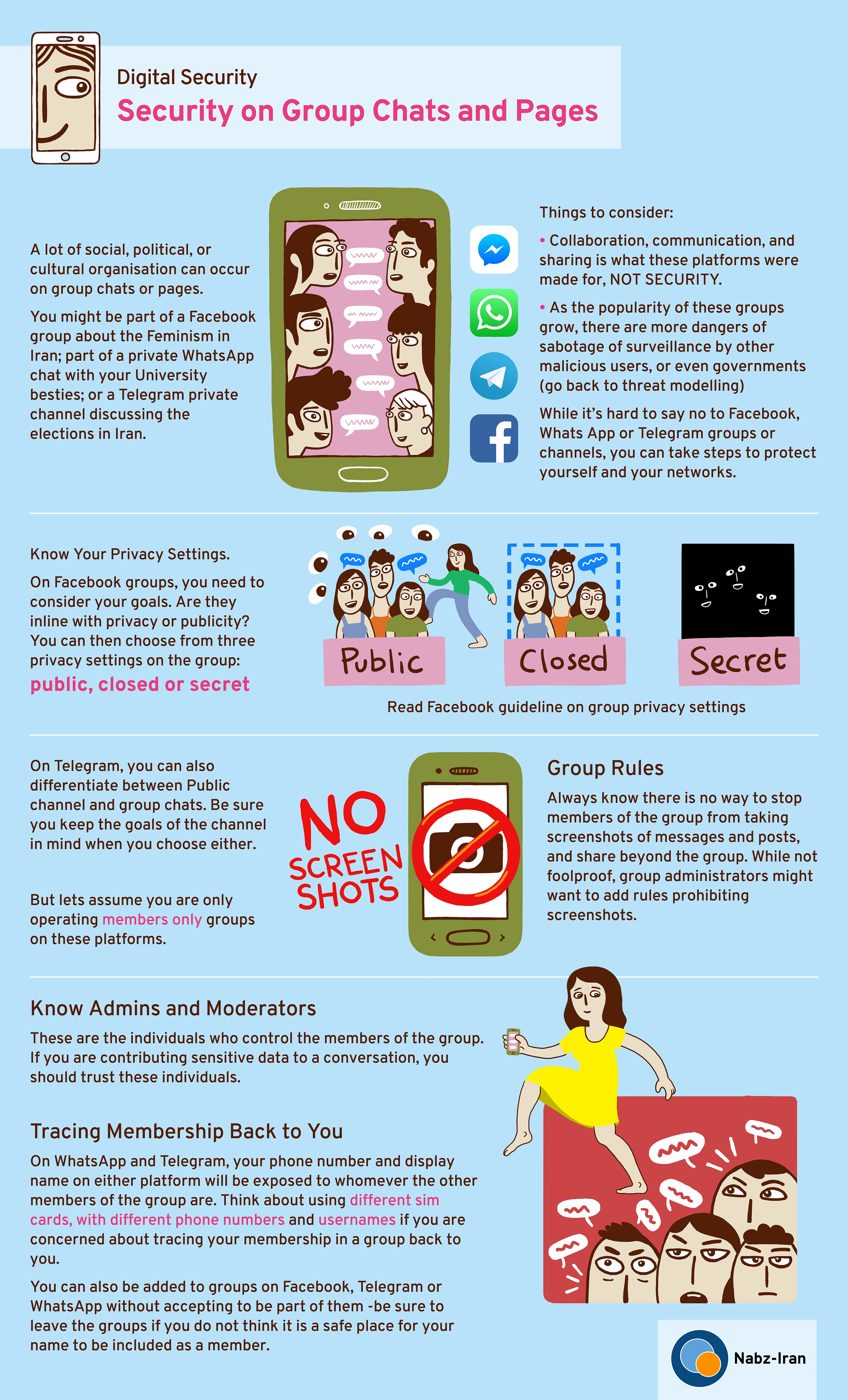 Nabz Iran | Infographic: Security on Group Chats and Pages - Digital