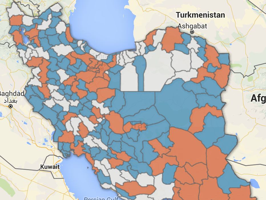 Map of Iran's electoral districts classified by ±50,000 people as the limit of deviation